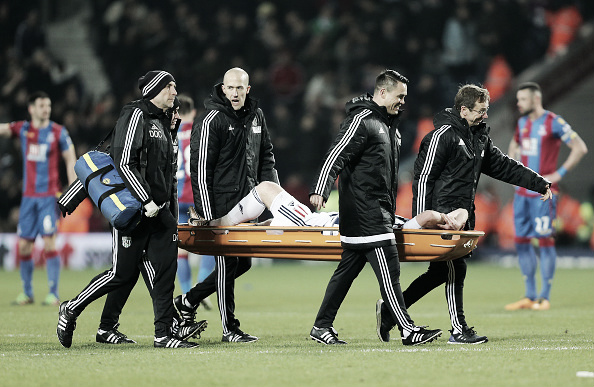 Brunty being stretchered off, following his injury against Palace (Getty Images)