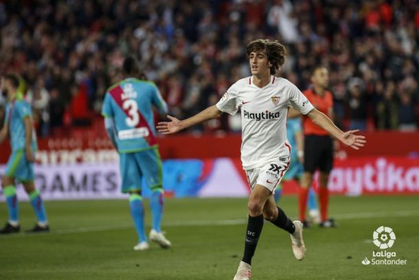 Bryan celebrando el gol   Foto: La Liga Santander