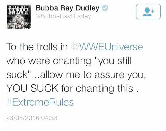 Bubba Ray made his point clear. Photo- Twitter.com