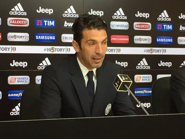 Gigi Buffon oggi in conferenza, twitter @juventusfc