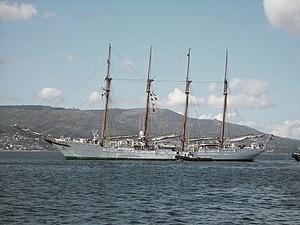 Buque escuela de la Armada española bautizado Elcano en honor al navegante español. Fuente Wikicomons