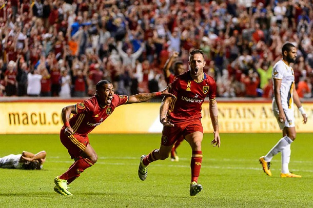 Real Salt Lake's Juan Manuel Martinez and Joao Plata celebrate an equalizer at the death against the Los Angeles Galaxy at Rio Tinto Stadium. | Photo: Trent Nelson (The Salt Lake Tribune)