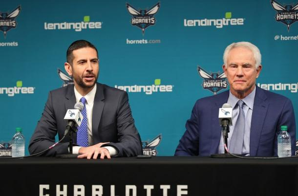 Charlotte Hornets General Manager, Mitch Kupchak introduces James Borrego as Head Coach of the Charlotte Hornets during a press conference in Charlotte, North Carolina on May 11, 2018 |Kent Smith/NBAE via Getty Images|