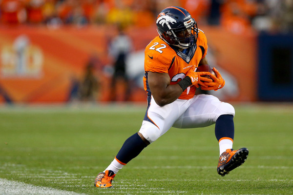Denver Broncos running back C.J. Anderson (#22) rushed for 94 yards and two touchdowns (one receiving) in Broncos victory over Carolina Panthers in week 1.  Photo: Getty Images.