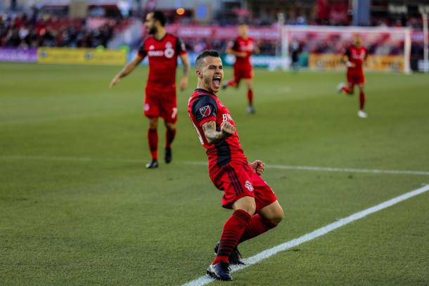 It was another big night for Sebastian Giovinco at BMO Field | Source: The Canadian Press