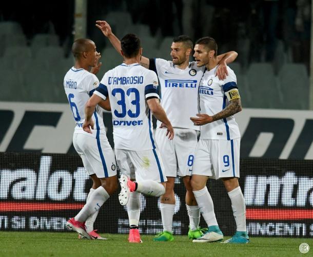 L'esultanza dopo il gol di Icardi   Twitter @Inter