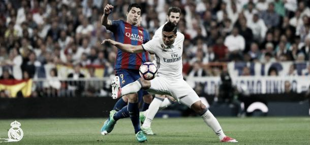 Azione di gioco tra Real e Barcellona   Source: profilo Twitter Real Madrid