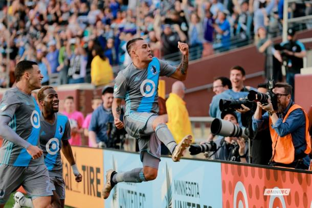 Miguel Ibarra celebrates the winning goal with fans | SOurce: mnufc.com