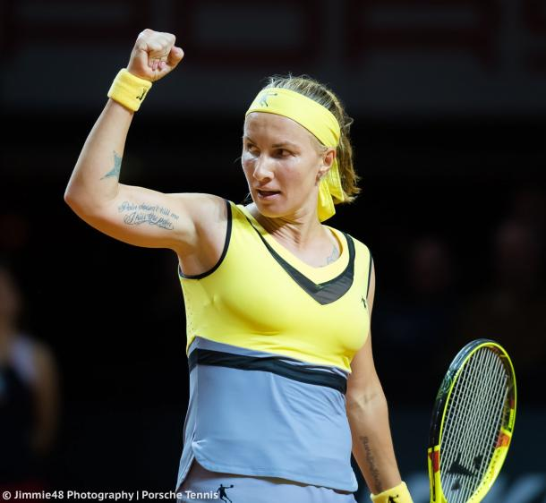 Svetlana Kuznetsova celebrates her victory | Photo: Jimmie48 Tennis Photography