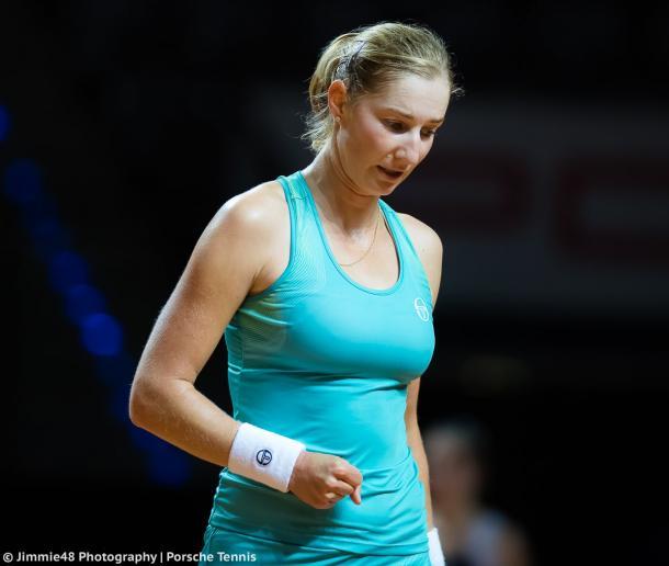 Ekaterina Makarova in action at the Porsche Tennis Grand Prix | Photo: Jimmie48 Tennis Photography