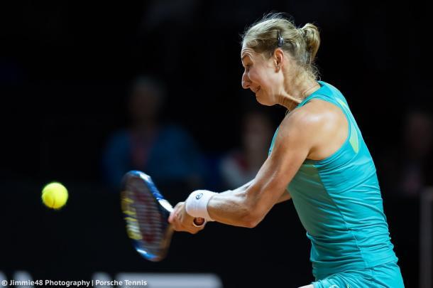 Ekaterina Makarova in action at the Stuttgart Open | Photo: Jimmie48 Tennis Photography