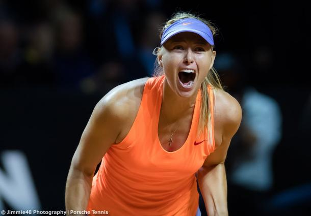 Maria Sharapova celebrates her victory over Vinci | Photo: Jimmie48 Tennis Photography