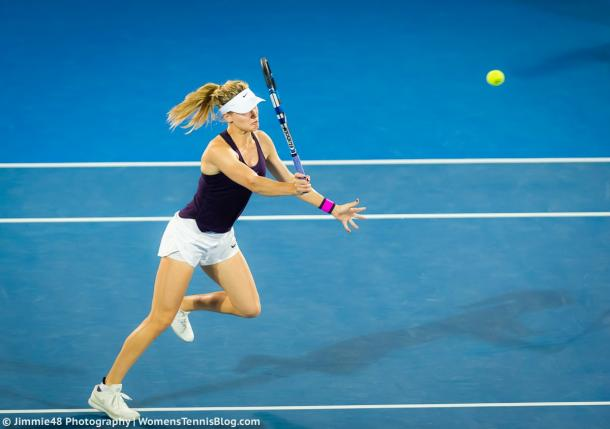 Eugenie Bouchard hits a volley during her semifinal match in Sydney. Photo:Jimmie48 Tennis Photography