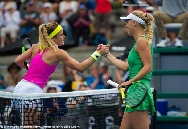 Caroline Wozniacki and Nicole Gibbs shake hands after their match at the ASB Classic in Auckland/Jimmie48 Photography