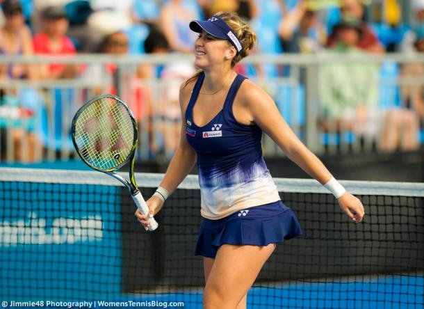 Belinda Bencic struggled with a broken nail at the Sydney International, where she eventually retired | Photo: Jimmie48 Tennis Photography