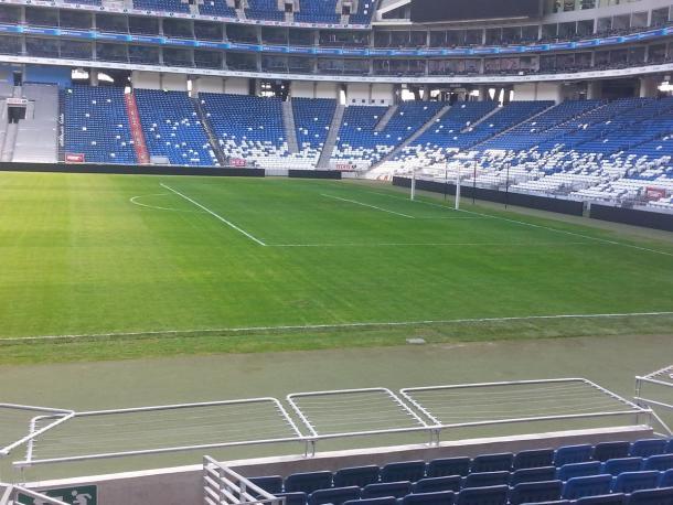 La cancha del Estadio BBVA |  Foto; Juan Carlos Monroy / VAVEL México