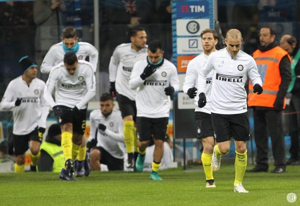Riscaldamento Inter | Twitter @Inter