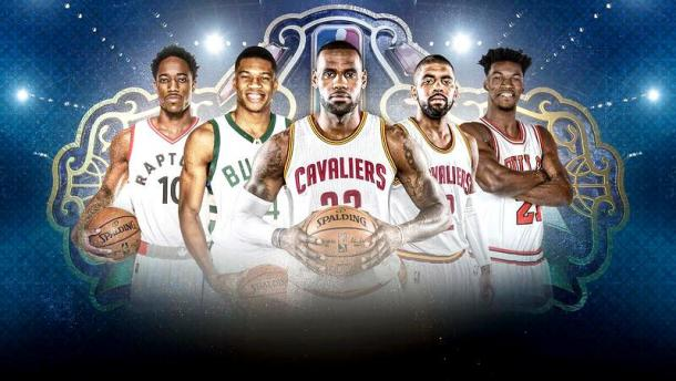 Starting Five per la Eastern Conference. | Fonte immagine: Twitter @NBATV