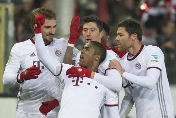 Festa Bayern dopo il pari. | Fonte immagine: Twitter @UEFAChampionsLeague