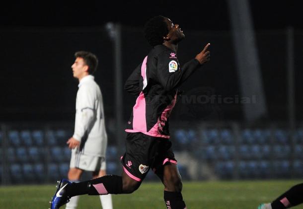 Jean Jules celebrando un gol. Fotografía: Rayo Vallecano S.A.D.