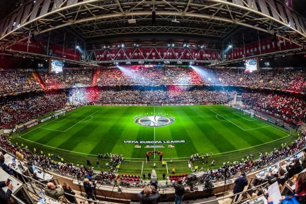 Immagine suggestiva dell'Amsterdam Arena prima del match | Twitter: @AFCAjax