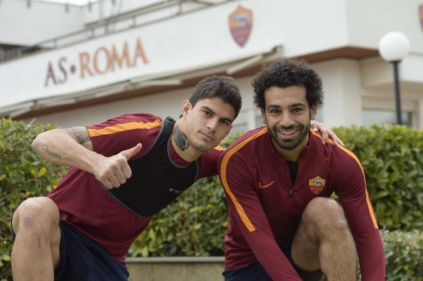 Perotti e Salah in allenamento - Fonte: asroma.it/com