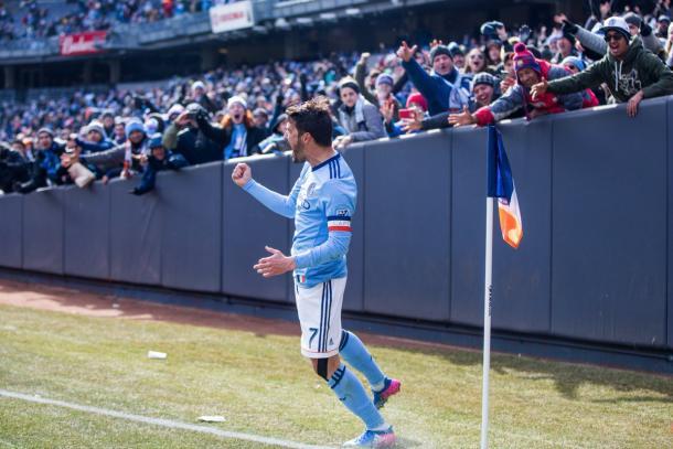 Villa celebra uno de los goles ante DC United. / Foto: NYCFC.com