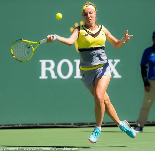 Svetlana Kuznetsova hits a forehand in her fourth round | Photo: Jimmie48 Tennis Photography