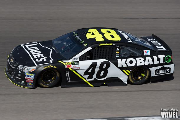 Jimmie Johnson drives during the race.