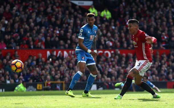 Il goal di Rojo nel primo tempo | Foto: @premierleague