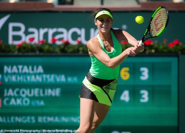 Natalia Vikhlyantseva had a poor day at the office today | Photo: Jimmie48 Tennis Photography