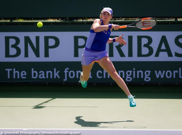 Tereza Martincova in action today | Photo: Jimmie48 Tennis Photography