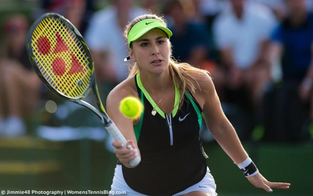 Belinda Bencic in action during a 2-6, 2-6 loss to Kiki Bertens in Indian Wells | Photo: Jimmie48 Tennis Photography