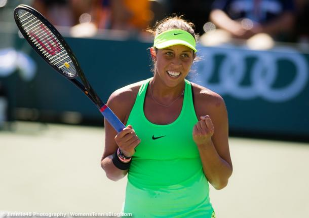 Madison Keys celebrates the first win of her comeback | Photo: Jimmie48 Tennis Photography