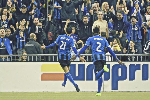 Matteo Mancosu celebrates his goal in front of the fans | Source: Eric Bolte/USA TODAY Sports