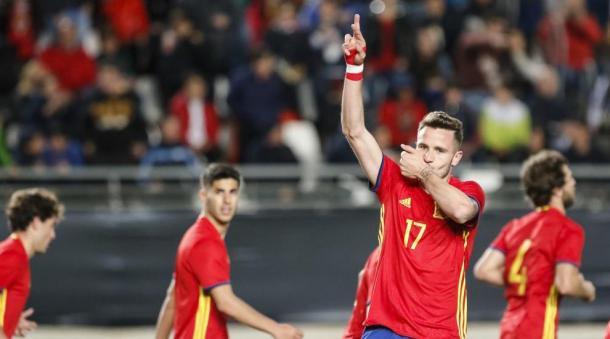 Saúl celebra un gol ante Italia   Foto: España