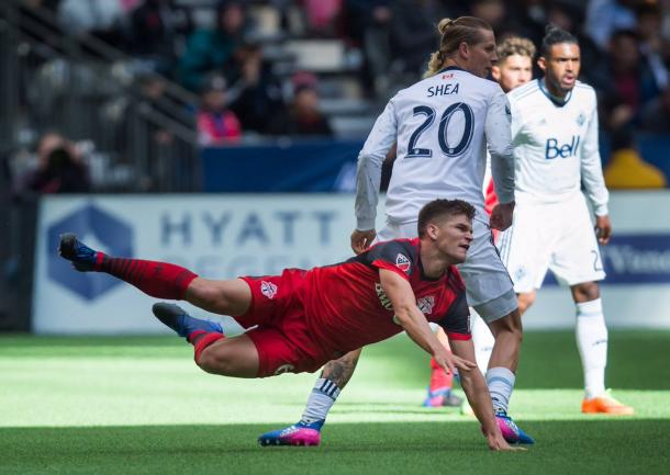 Brek Shea fouls Nick Hagglund in the lead up to his red card | Source; Darryl Dyck/The Canadian Press