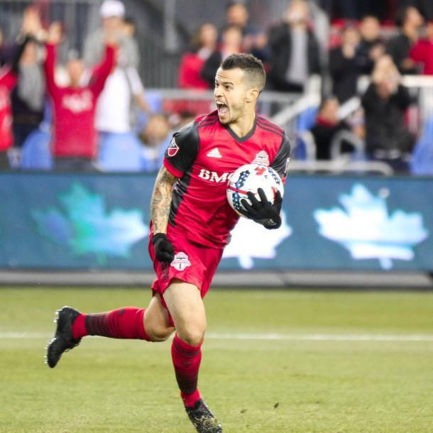 Giovinco celebrates scoring the equalizing goal for Toronto | Source: Tom Szczerbowski-USA TODAY Sports