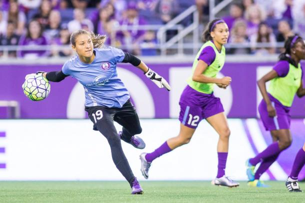 Aubrey Bledsoe practicing before a game/ Photo: Orlando twitter @ORLpride