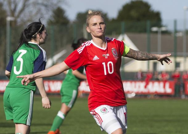 Fishlock celebrates her goal in front of the fans | Source: faw.cymru