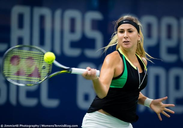 Belinda Bencic playing in her last tournament before her wrist injury | Photo: Jimmie48 Tennis Photography