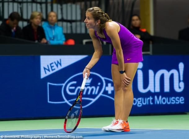 Annika Beck questions a call | Photo: Jimmie48 Tennis Photography