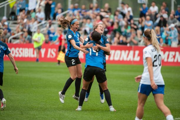 Celebrations after Sydney Leroux put her team ahead against the Breakers. Source: FC Kansas City
