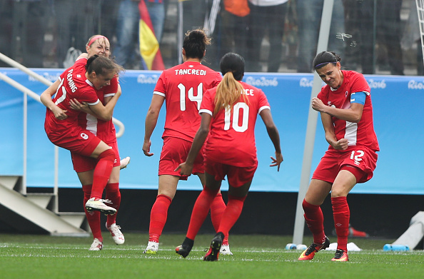 Canada celebrate their opening goal. | Image credit: Alexandre Schneider/Getty Images
