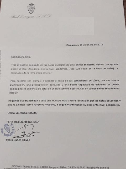 CARTA REMITIDA DESDE LA CIUDAD DEPORTIVA POR EL RENDIMIENTO ACADÉMICO. (@SANOSPORT)