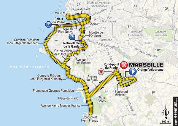 La planimetria della cronometro di Marsiglia. Parenza ed arrivo ai piedi dello Stade Velodrome. Fonte foto: le tour.fr