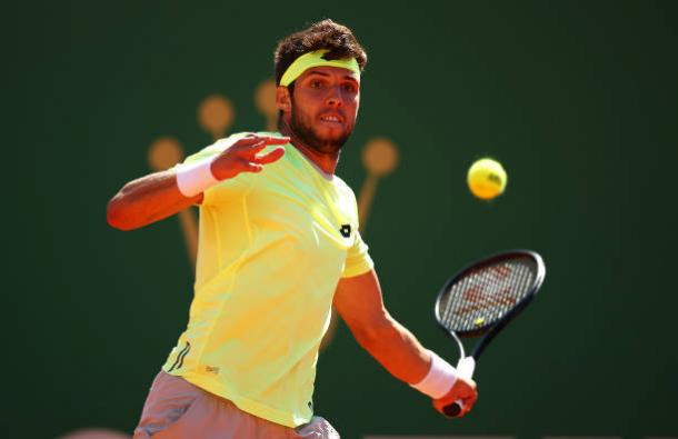 Jiri Vesely hits a forehand during his loss to Stan Wawrinka (Getty/Clive Brunskill)