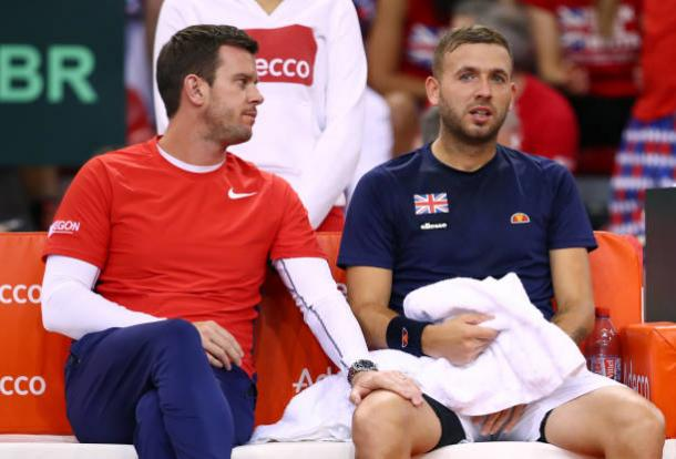 Dan Evans with Great Britain Davis Cup Captain Leon Smith during their quarterfinal tie against France (Getty/Clive Brunskill)