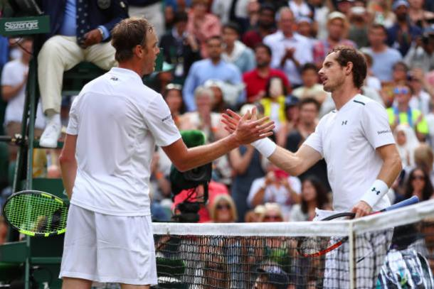 Sam Querrey and Andy Murray meet after their encounter (Getty/Clive Brunskill)