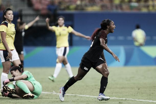 Dunn celebrates her first Olympic goal   Source: Michael Dantas/AP